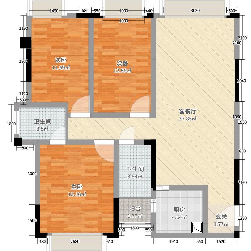 三汇玫瑰花城3室2厅2卫1厨115.00㎡户型图户型图大全