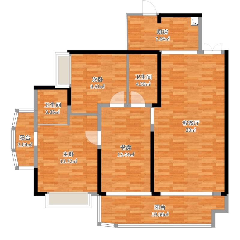 天易江湾广场3室2厅2卫1厨123.00㎡户型图