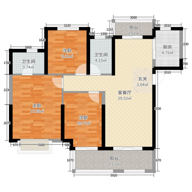 菲博娱乐平台app下载正规的【ag69.cn】3室2厅2卫1厨113.00㎡户型图