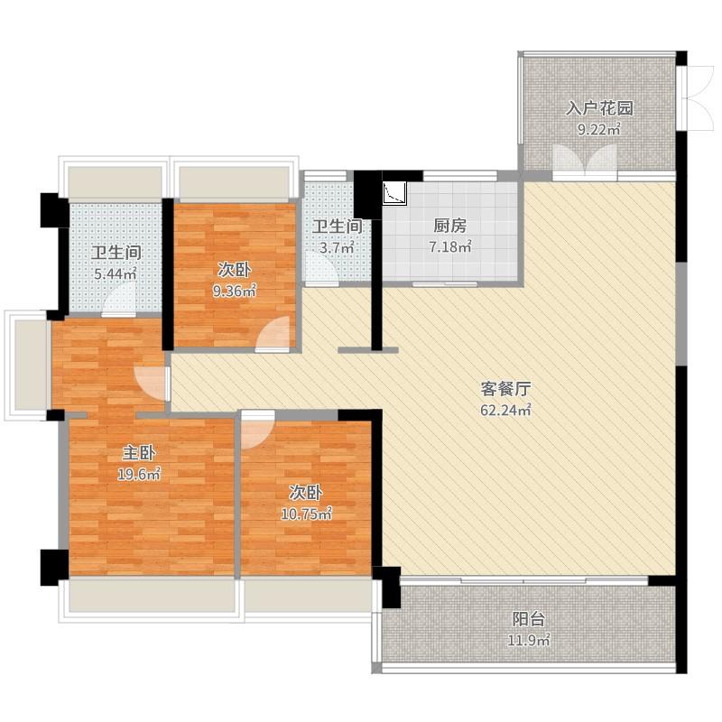 金地·壹粤府3室2厅2卫1厨174.00㎡户型图
